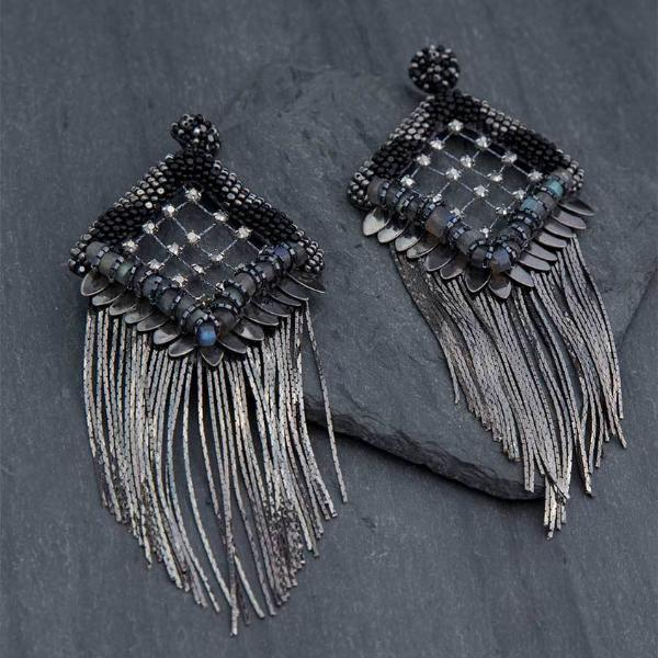 Deepa Gurnani Handmade Paulina Luxe Earrings on Slate Background