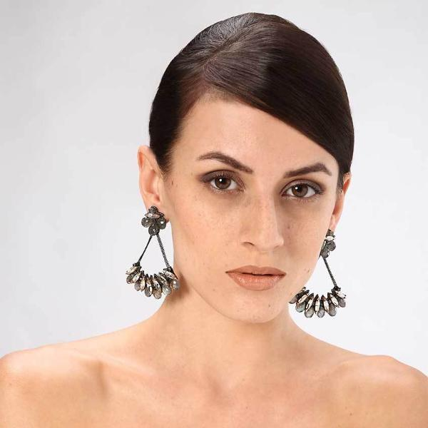 Model Wearing Deepa Gurnani Handmade Kirstie Luxe Earrings