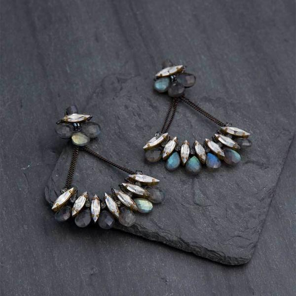 Deepa Gurnani Handmade Kirstie Luxe Earrings on Slate Background