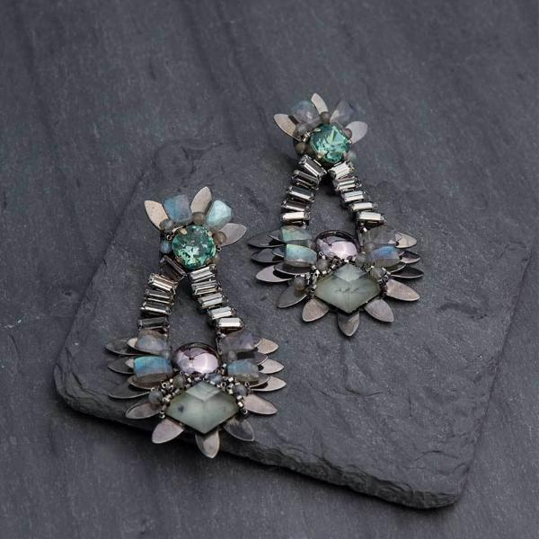 Deepa Gurnani Handmade Veronica Luxe Earrings on Slate Background