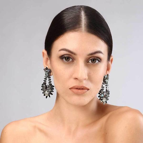 Model Wearing Deepa Gurnani Handmade Veronica Luxe Earrings