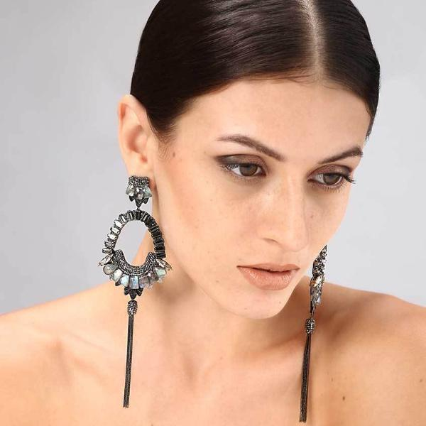 Model Wearing Deepa Gurnani Handmade Arlie Luxe Earrings