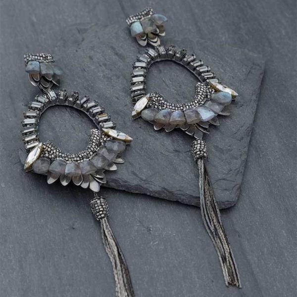Deepa Gurnani Handmade Arlie Luxe Earrings on Slate Background