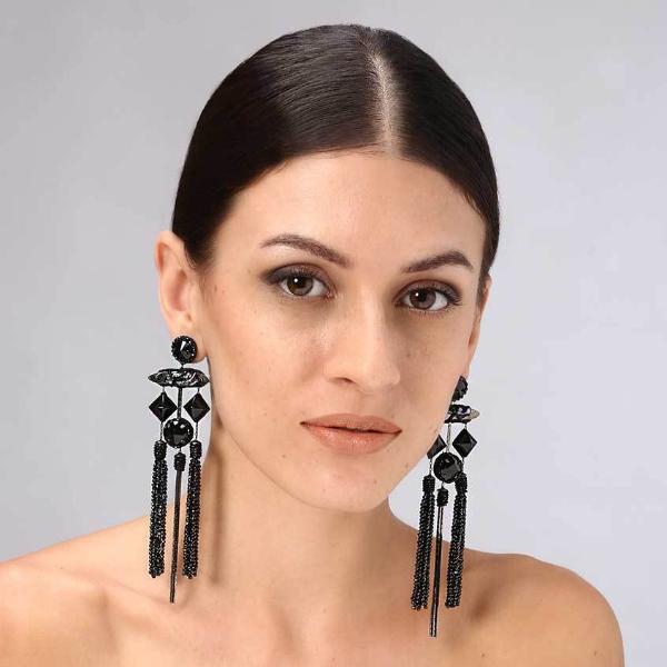 Model Wearing Deepa Gurnani Handmade Porsna Luxe Earrings