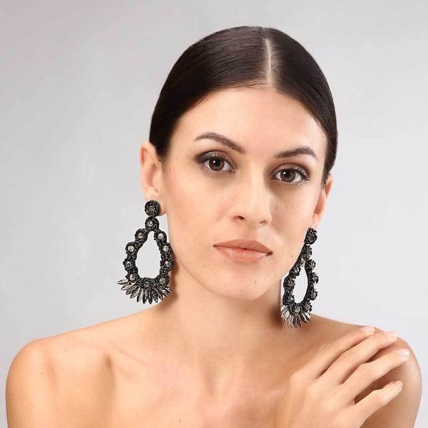 Model Wearing Deepa Gurnani Handmade Yadaliz Luxe Earrings