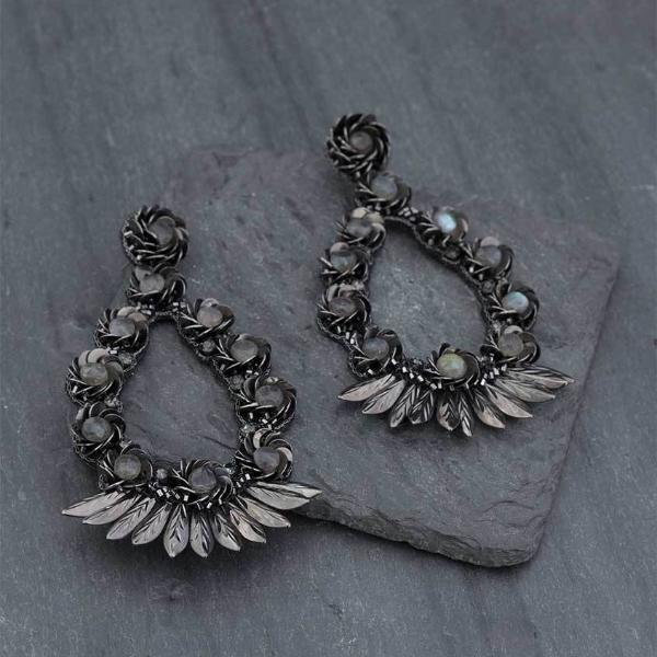 Deepa Gurnani Handmade Yadaliz Luxe Earrings on Slate Background