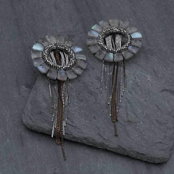 Deepa Gurnani Handmade Shadiye Luxe Earrings on Slate Background