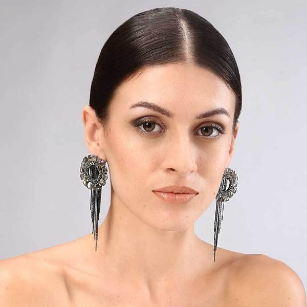 Model Wearing Deepa Gurnani Handmade Shadiye Luxe Earrings