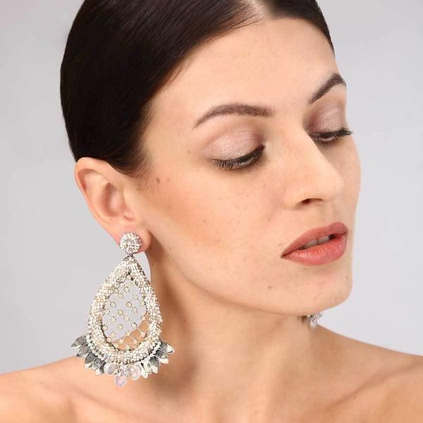 Model Wearing Deepa Gurnani Handmade Opal Luxe Earrings