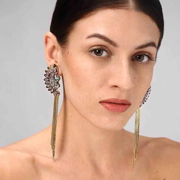 Model Wearing Deepa Gurnani Handmade Xyla Earrings