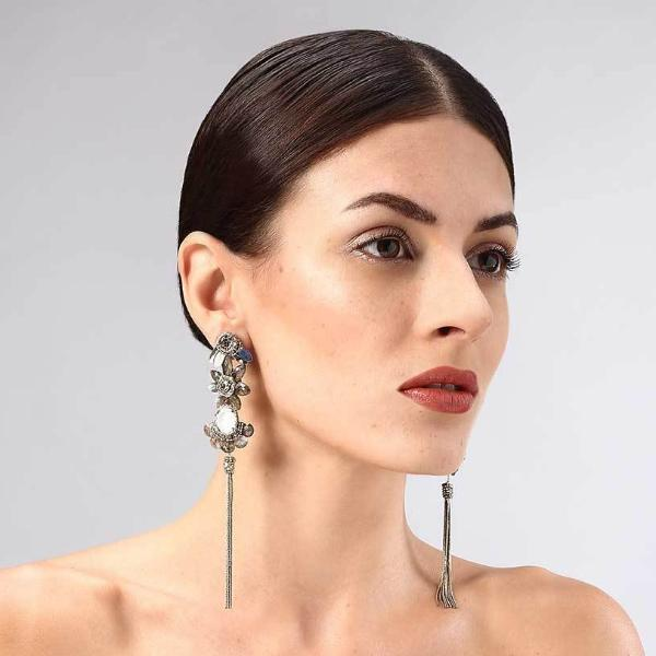 Model Wearing Deepa Gurnani Handmade Annie Earrings
