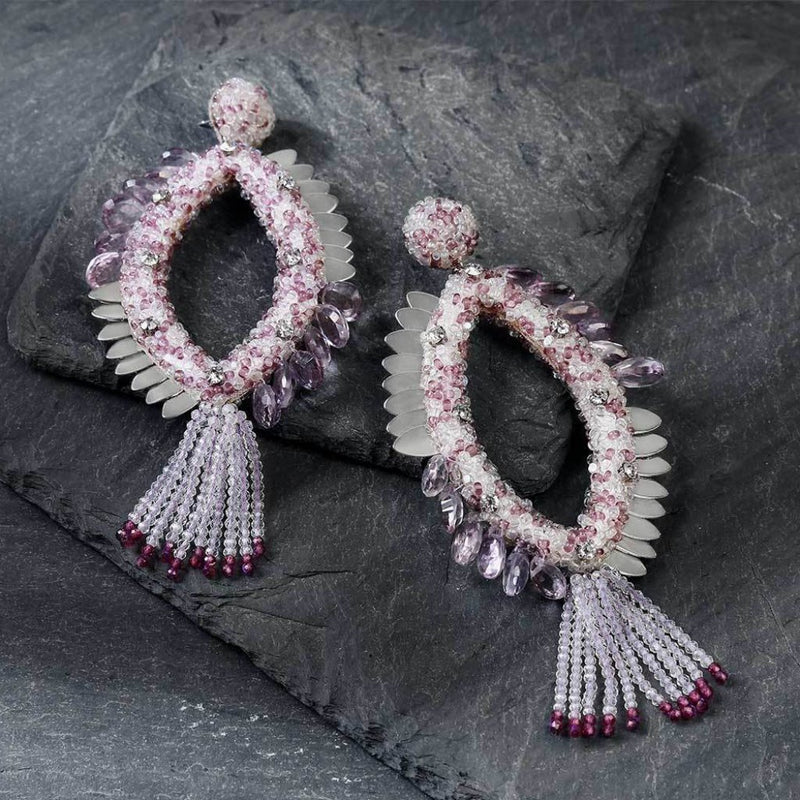 Deepa Gurnani Handmade Melanie Earrings in Lavender on Slate Background