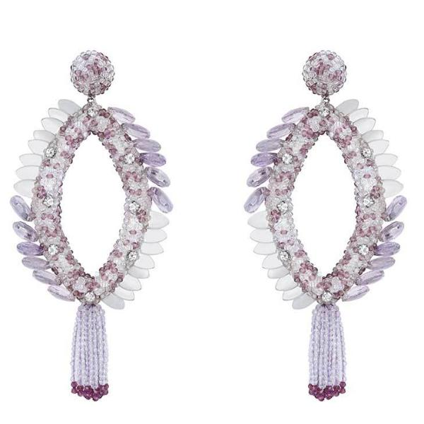 Deepa Gurnani Handmade Melanie Earrings in Lavender