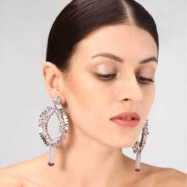 Model Wearing Deepa Gurnani Handmade Melanie Earrings in Lavender