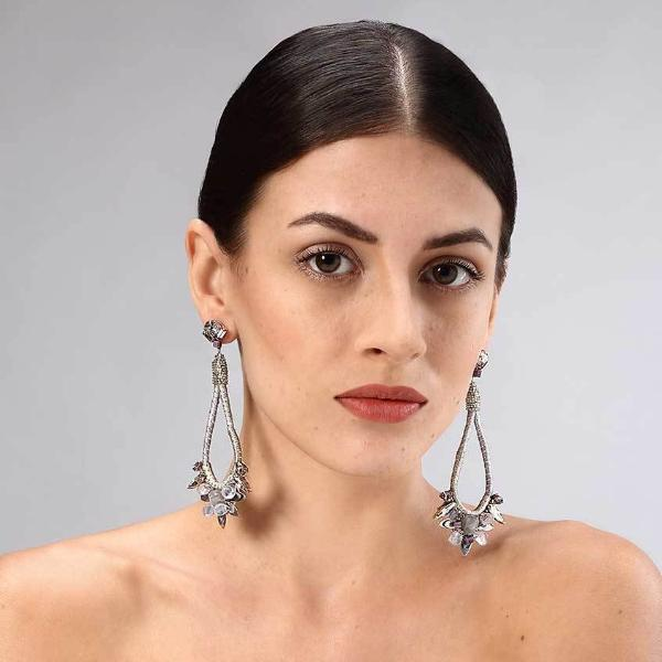 Model Wearing Deepa Gurnani Handmade Paitlyn Earrings