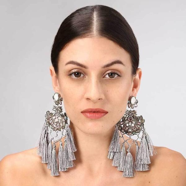 Model Wearing Deepa Gurnani Handmade Faye Earrings