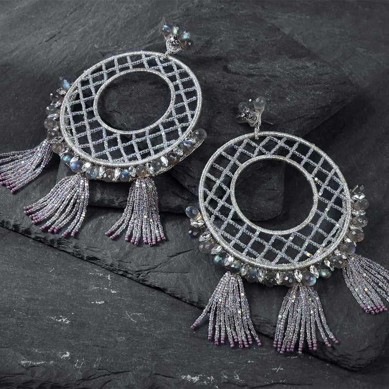 Deepa Gurnani Handmade Gracelyn Luxe Earrings on Slate Background