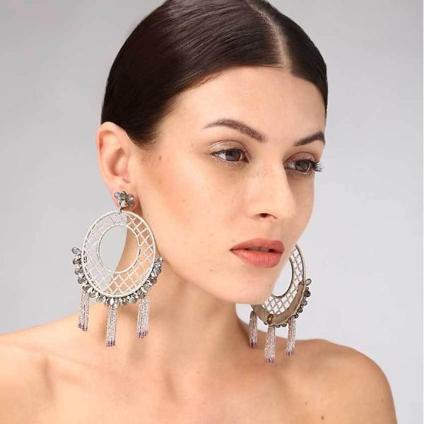 Model Wearing Deepa Gurnani Handmade Gracelyn Luxe Earrings