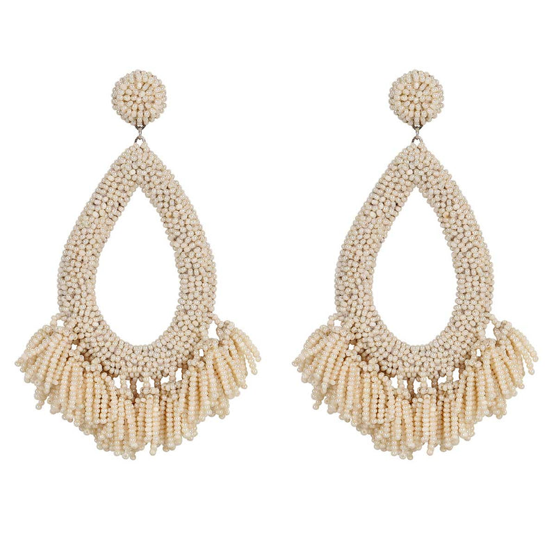 Deepa Gurnani Handmade Rafela Earrings in Ivory