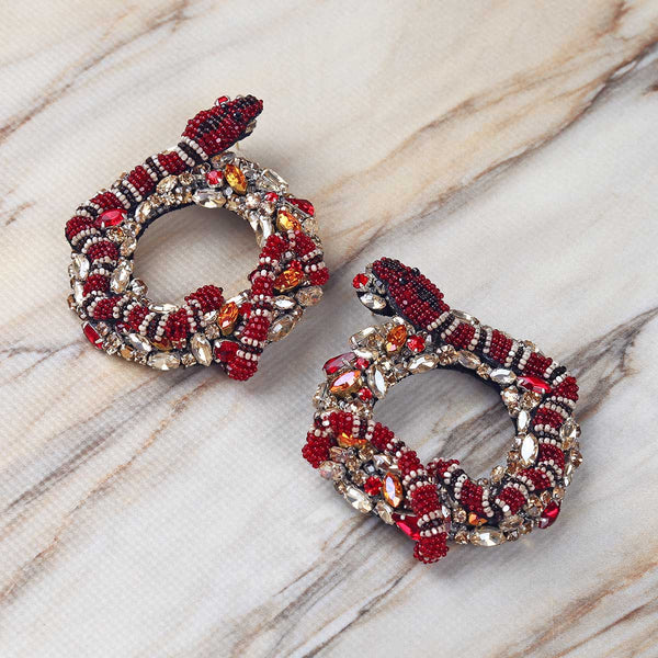 Deepa Gurnani Handmade Jayda Earrings on Marble Background