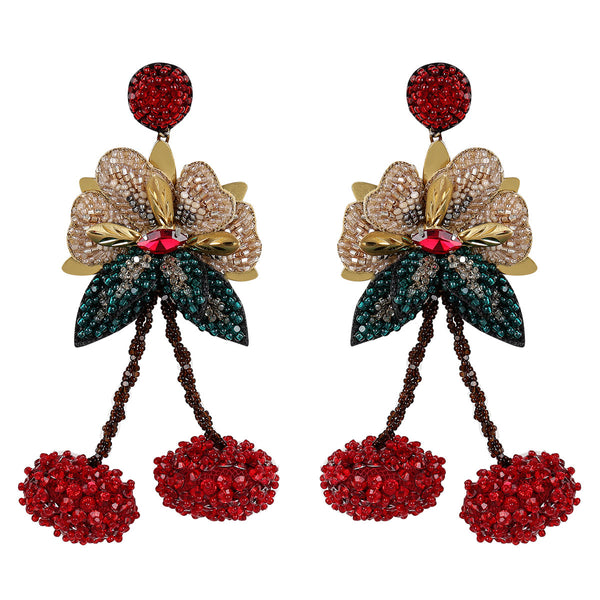 Deepa Gurnani Luxe Handmade Embroidered Cherry Earrings