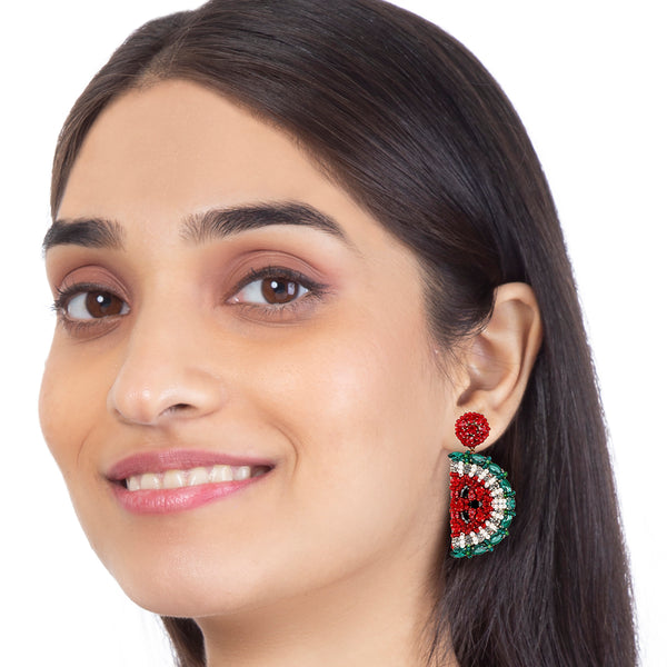 Handmade Swarovski crystals watermelon earrings by Deepa Gurnani