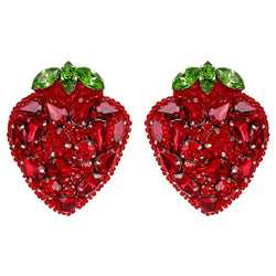 Deepa Gurnani Luxe Handmade Embroidered Strawberry Earrings