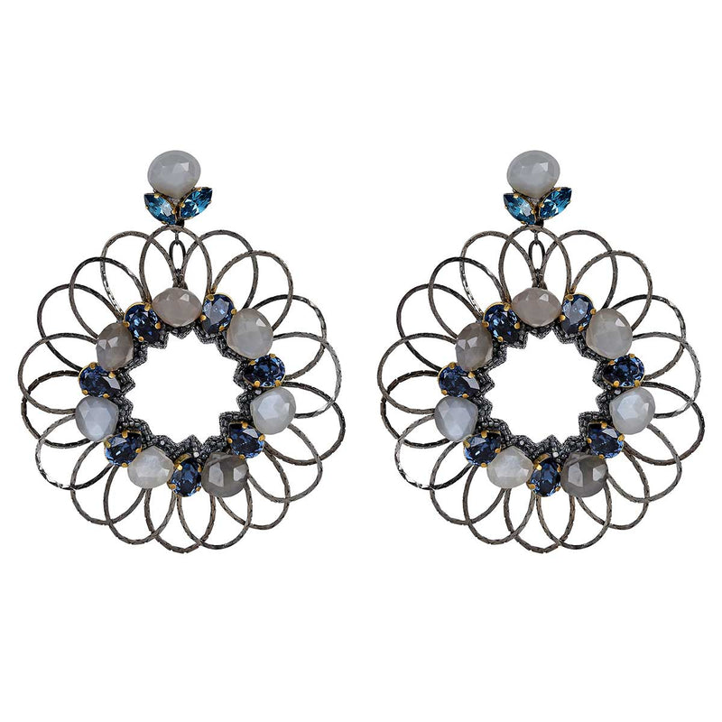 Deepa Gurnani Handmade Jacqueline Earrings in Gunmetal