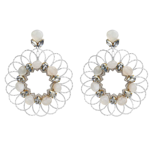 Deepa Gurnani Handmade Jacqueline Earrings in Silver