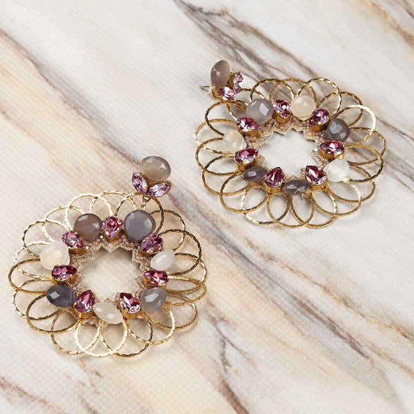Deepa Gurnani Handmade Jacqueline Earrings in Gold on Marble Background