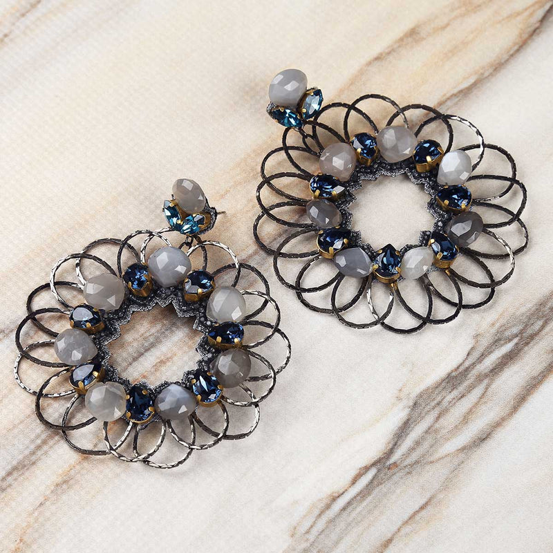 Deepa Gurnani Handmade Jacqueline Earrings in Gunmetal on Marble Background