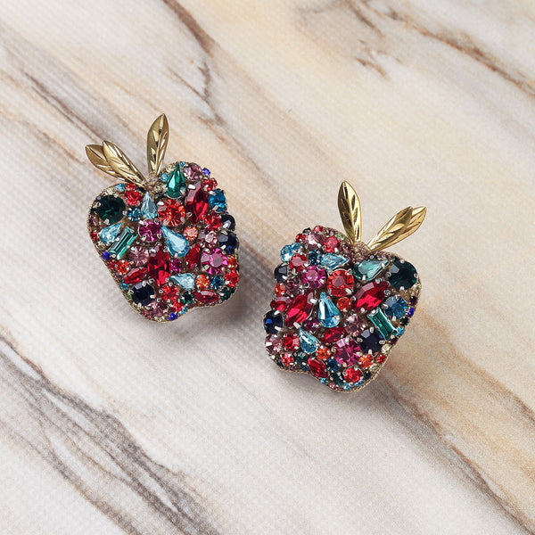 Deepa Gurnani Luxe Handmade Embroidered Apple Earrings on Marble Background