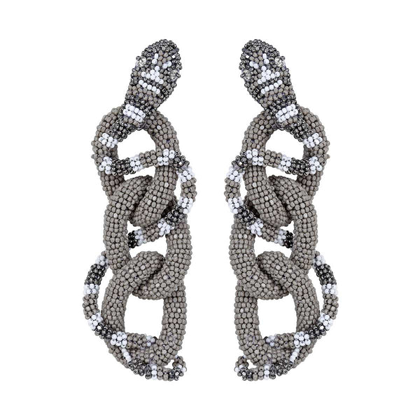 Deepa Gurnani Handmade Haze Earrings in Gray