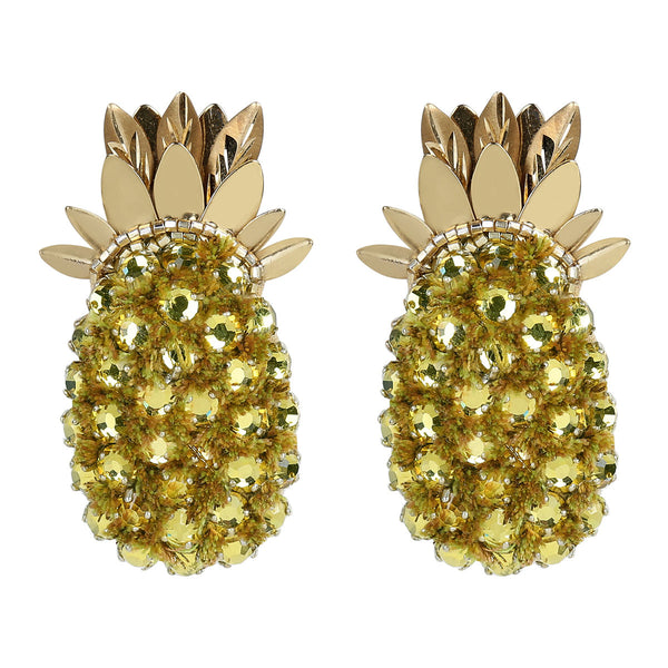 Deepa Gurnani Handmade Embroidered Pineapple Earrings