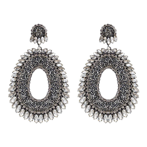 Deepa Gurnani Handmade Kiki Earrings in Gunmetal