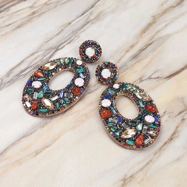 Deepa Gurnani Handmade Multicolor Lainey Earrings on Marble Background
