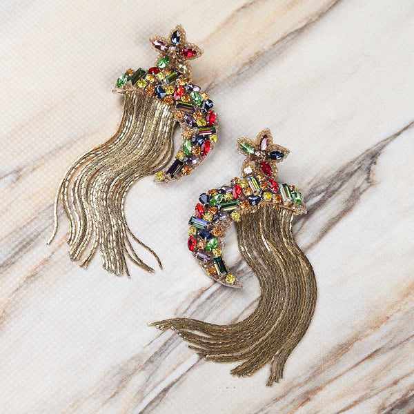 Deepa Gurnani Handmade Ginnie Earrings on Marble Background