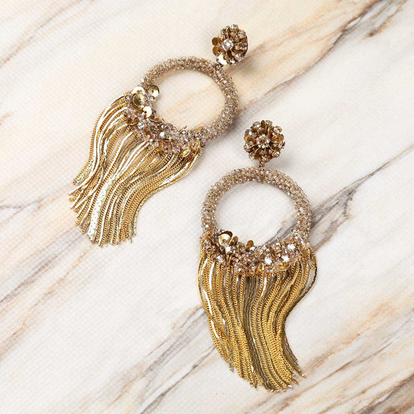 Deepa Gurnani Handmade Hedi Earrings on Marble Background