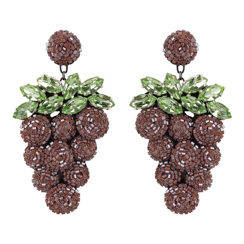 Deepa Gurnani Handmade Embroidered Grape Earrings