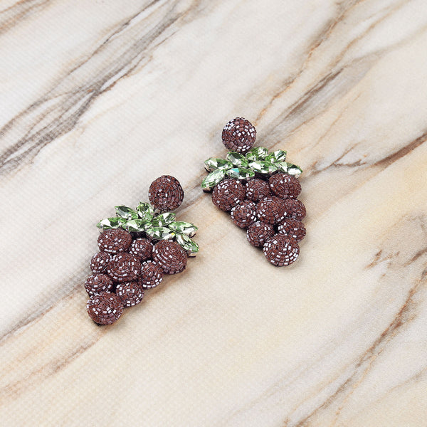 Deepa Gurnani Handmade Embroidered Grape Earrings on Marble Background