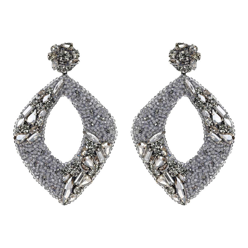 Deepa Gurnani Handmade René Earrings in Gunmetal