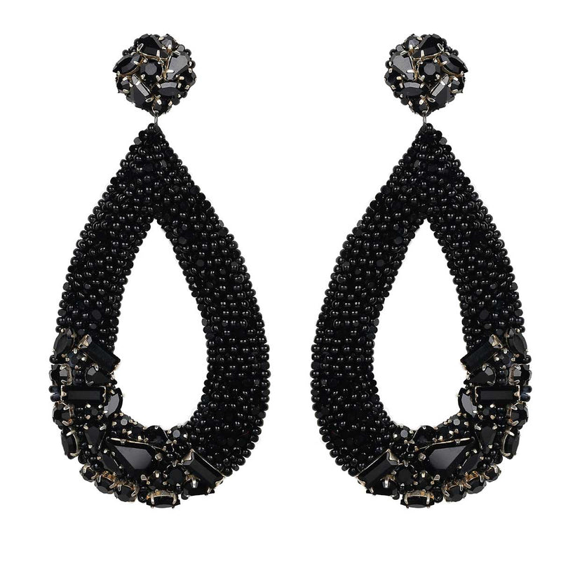 Deepa Gurnani Handmade Jenna Earrings in Gunmetal