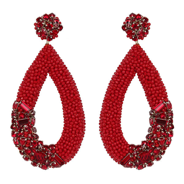 Deepa Gurnani Handmade Jenna Earrings in Red