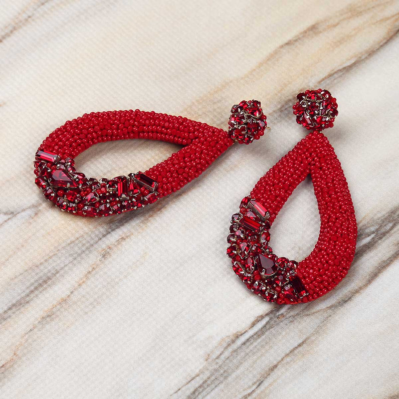Deepa Gurnani Handmade Jenna Earrings in Red on Marble Background