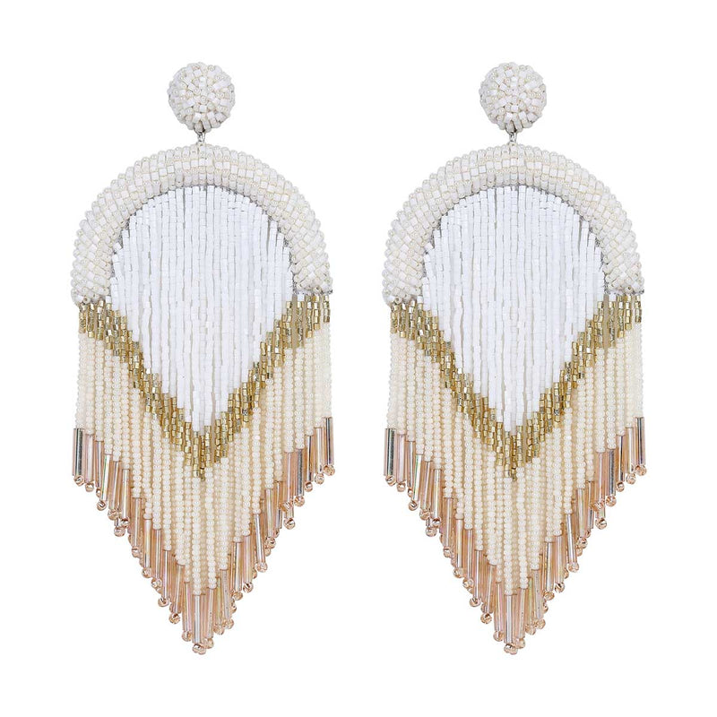 Deepa Gurnani Handmade Hasfa Earrings in Ivory
