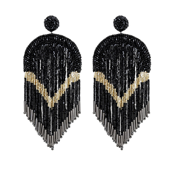 Deepa Gurnani Handmade Hasfa Earrings in Black
