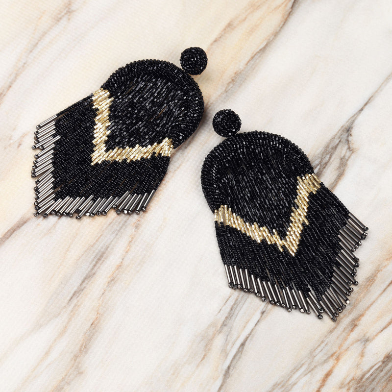 Deepa Gurnani Handmade Hasfa Earrings in Black on Marble Background