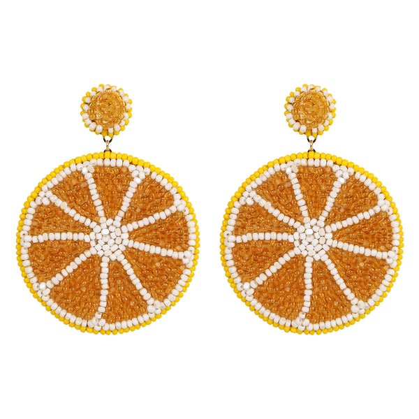 Deepa Gurnani Handmade Embroidered Lemon Earrings