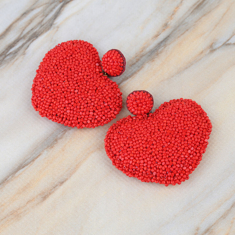 Fun handmade embroidered lightweight heart earrings