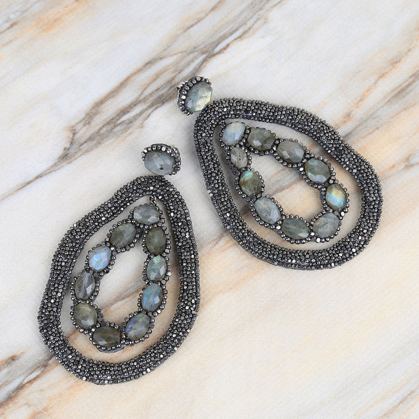Deepa Gurnani Handmade Ellish Earrings on Marble Background